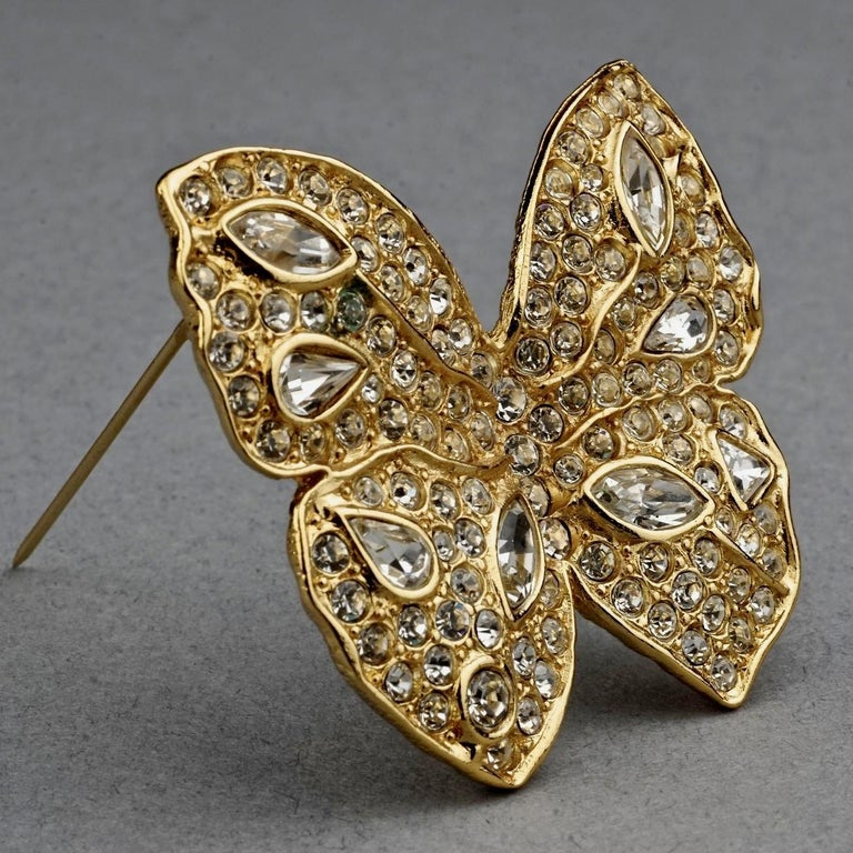 Vintage YVES SAINT LAURENT Ysl Butterfly Rhinestone Brooch In Excellent Condition For Sale In Kingersheim, Alsace