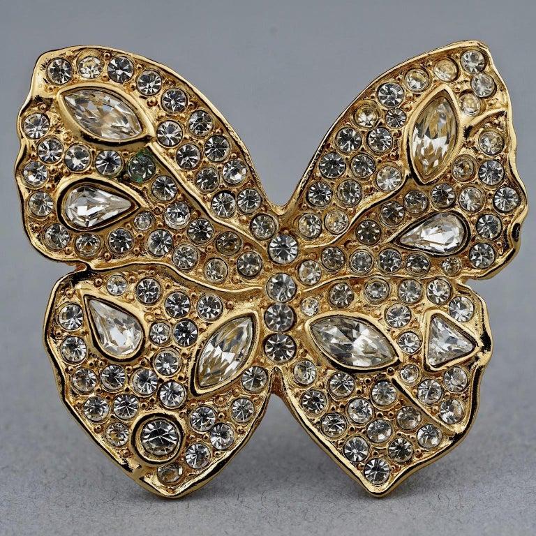 Women's or Men's Vintage YVES SAINT LAURENT Ysl Butterfly Rhinestone Brooch For Sale