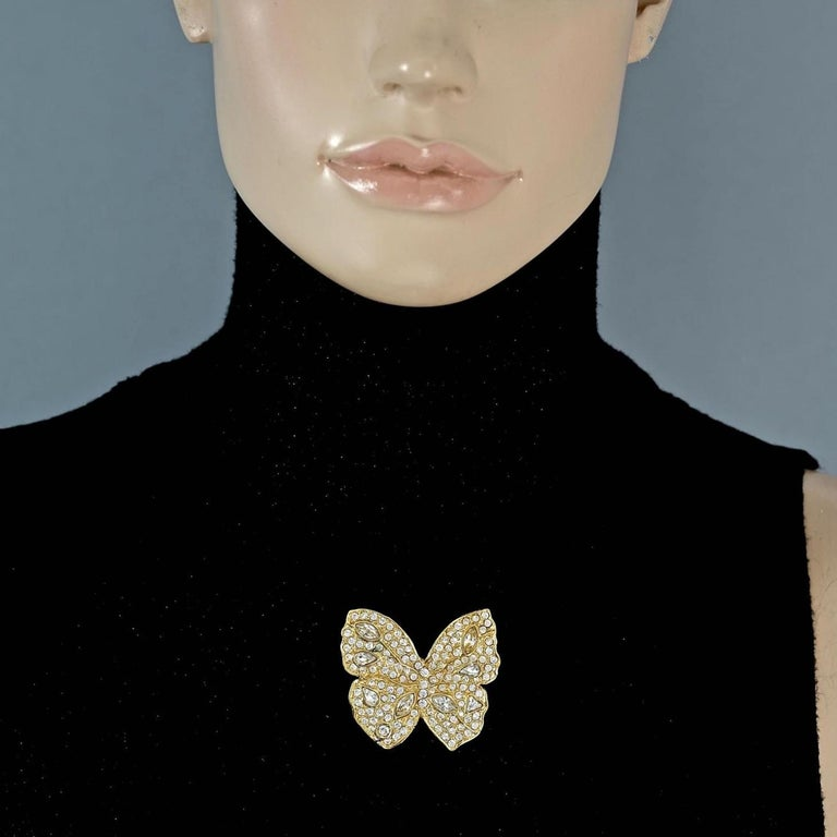 Vintage YVES SAINT LAURENT Ysl Butterfly Rhinestone Brooch For Sale 1