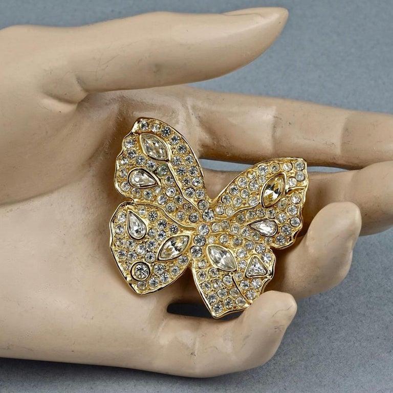 Vintage YVES SAINT LAURENT Ysl Butterfly Rhinestone Brooch For Sale 2