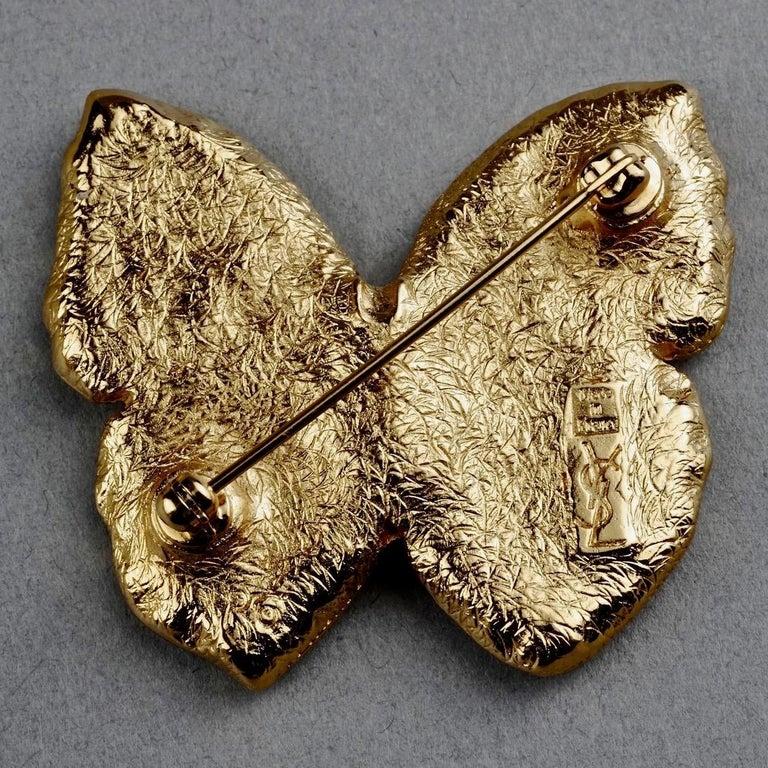 Vintage YVES SAINT LAURENT Ysl Butterfly Rhinestone Brooch For Sale 3