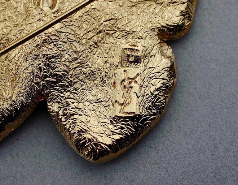 Vintage YVES SAINT LAURENT Ysl Butterfly Rhinestone Brooch For Sale 4