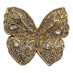 Vintage YVES SAINT LAURENT Ysl Butterfly Rhinestone Brooch