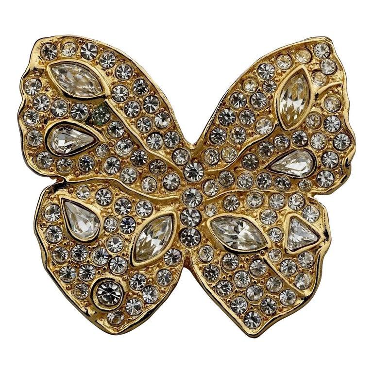 Vintage YVES SAINT LAURENT Ysl Butterfly Rhinestone Brooch For Sale