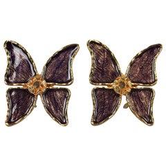 Vintage YVES SAINT LAURENT Ysl Butterfly Violet Enamel Earrings