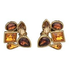 Vintage YVES SAINT LAURENT Ysl by Goossens Citrine Amber Rhinestones Earrings