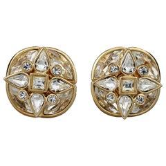 Vintage YVES SAINT LAURENT Ysl by Goossens Flower Overlay Rhinestones Earrings
