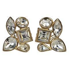 Vintage YVES SAINT LAURENT Ysl by Goossens Geometric Clear Rhinestones Earrings