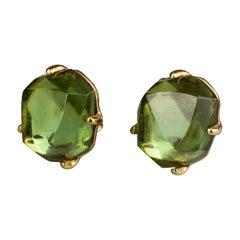 Vintage YVES SAINT LAURENT Ysl by Goossens Irregular Faceted Lucite Earrings