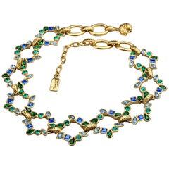 Vintage YVES SAINT LAURENT Ysl by Goossens Multi Color Rhinestone Necklace