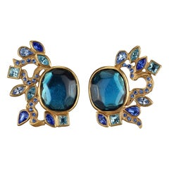 Vintage YVES SAINT LAURENT Ysl by Goossens Ornate Faceted Blue Stone Earrings
