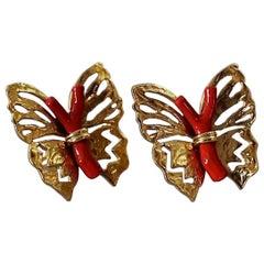 Vintage YVES SAINT LAURENT Ysl by Robert Goossens Butterfly Coral Branch Earring