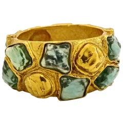 Vintage YVES SAINT LAURENT Ysl by Robert Goossens Cabochon Studded Cuff Bracelet
