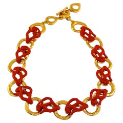 Vintage YVES SAINT LAURENT Ysl by Robert Goossens Coral Branch Overlay Chain Nec