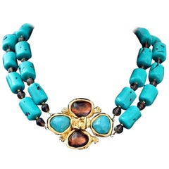 Vintage YVES SAINT LAURENT Ysl by Robert Goossens Flower Turquoise Necklace
