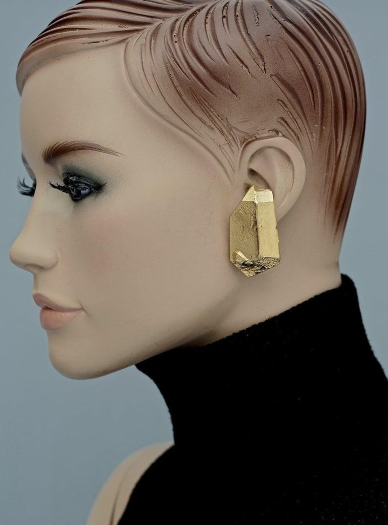 Vintage YVES SAINT LAURENT Ysl by Robert Goossens Gilt Prism Earrings  Measurements: Height: 1.77 inches (4.5 cm) Width: 0.94 inches (2.4 cm) Weight per Earring: 19 grams  Features: - 100% Authentic YVES SAINT LAURENT by Robert Goossens. - Chunky