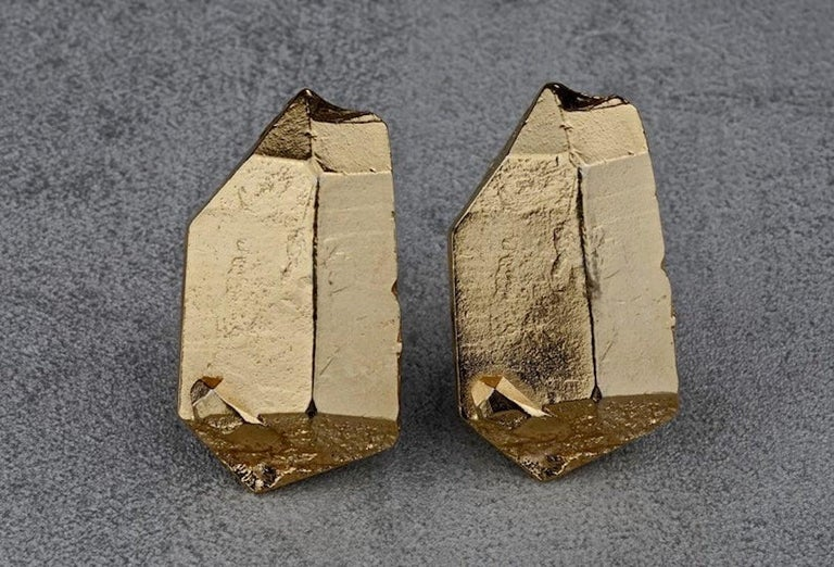 Vintage YVES SAINT LAURENT Ysl by Robert Goossens Gilt Prism Earrings In Excellent Condition For Sale In Kingersheim, Alsace