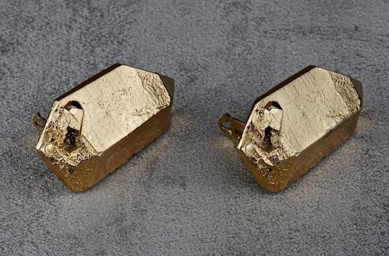 Women's Vintage YVES SAINT LAURENT Ysl by Robert Goossens Gilt Prism Earrings For Sale