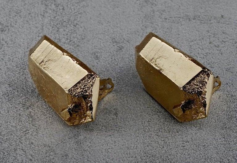 Vintage YVES SAINT LAURENT Ysl by Robert Goossens Gilt Prism Earrings For Sale 1