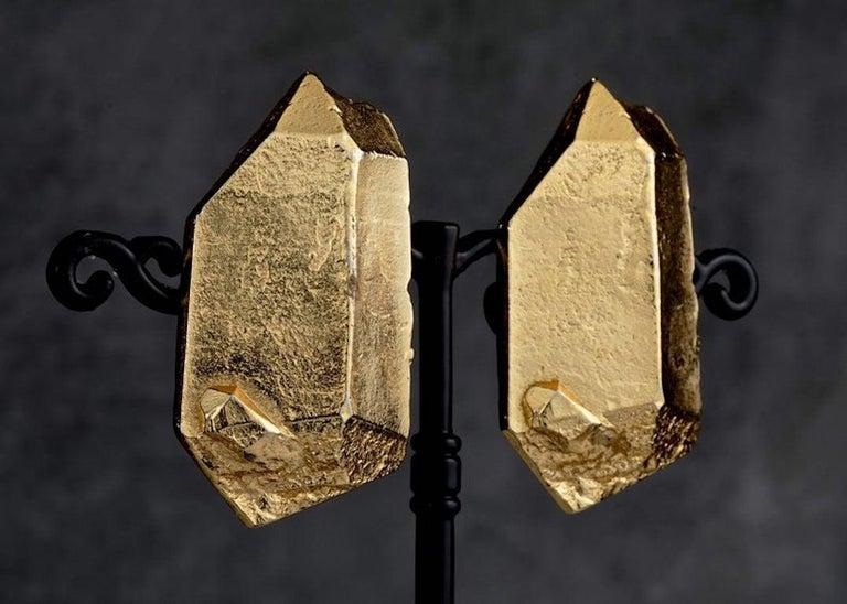 Vintage YVES SAINT LAURENT Ysl by Robert Goossens Gilt Prism Earrings For Sale 4