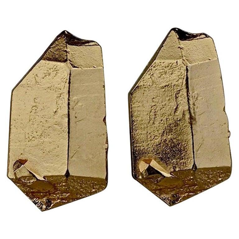 Vintage YVES SAINT LAURENT Ysl by Robert Goossens Gilt Prism Earrings For Sale