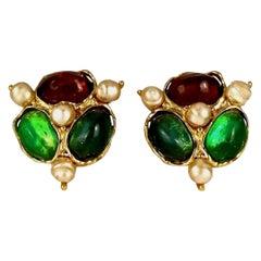 Vintage YVES SAINT LAURENT Ysl by Robert Goossens Gripoix Pearl Earrings