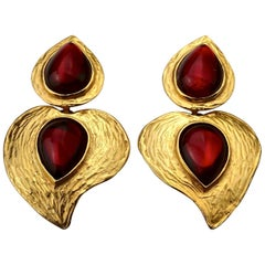 Vintage YVES SAINT LAURENT Ysl by Robert Goossens Heart Red Cabochon Earrings