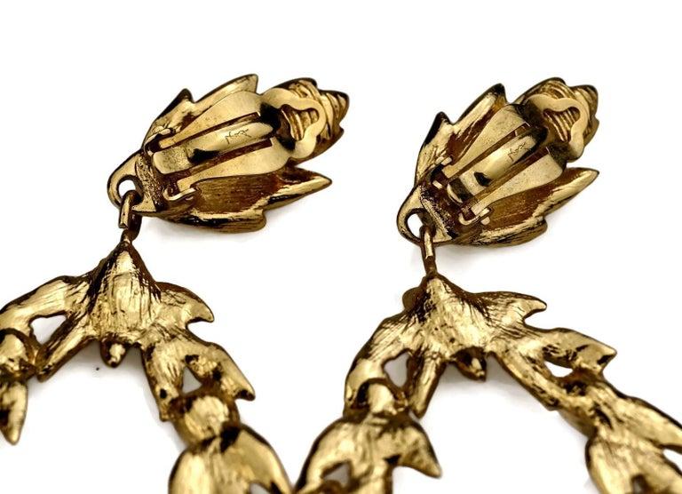 Vintage YVES SAINT LAURENT Ysl by Robert Goossens Jewelled Garland Hoop Earrings For Sale 6