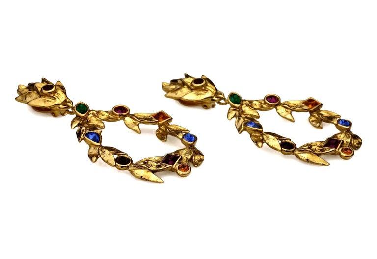 Women's Vintage YVES SAINT LAURENT Ysl by Robert Goossens Jewelled Garland Hoop Earrings For Sale
