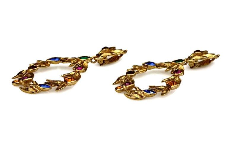 Vintage YVES SAINT LAURENT Ysl by Robert Goossens Jewelled Garland Hoop Earrings For Sale 1