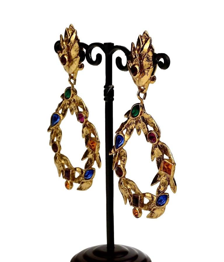 Vintage YVES SAINT LAURENT Ysl by Robert Goossens Jewelled Garland Hoop Earrings For Sale 2