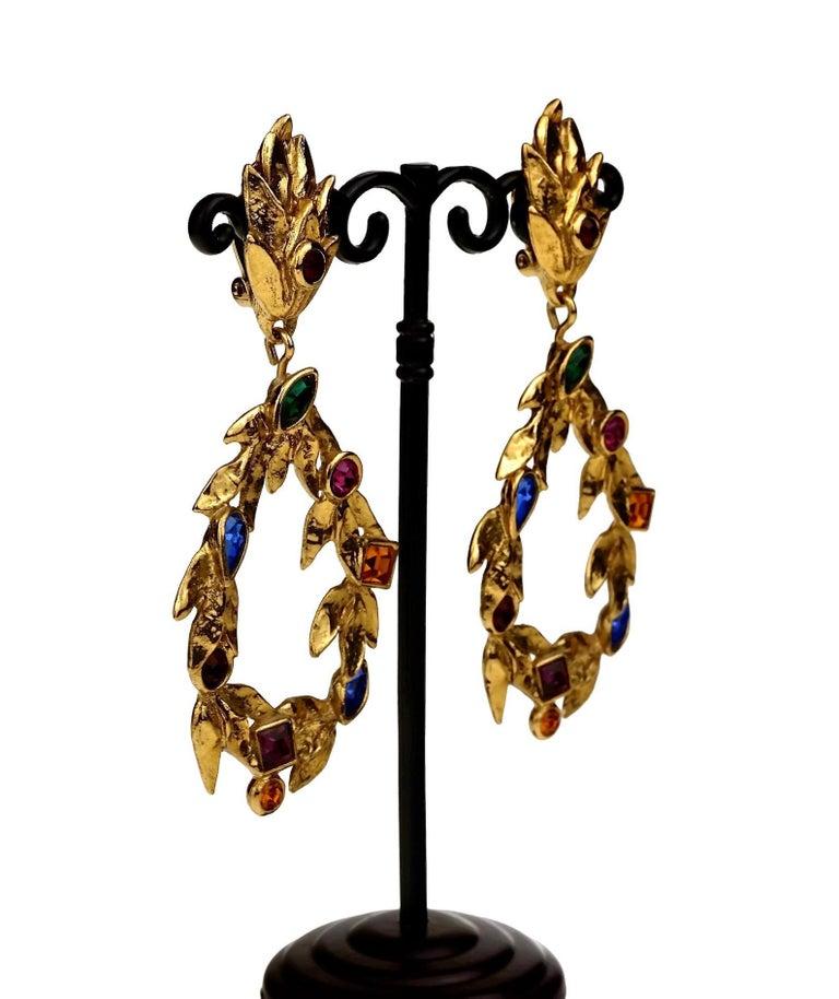 Vintage YVES SAINT LAURENT Ysl by Robert Goossens Jewelled Garland Hoop Earrings For Sale 3