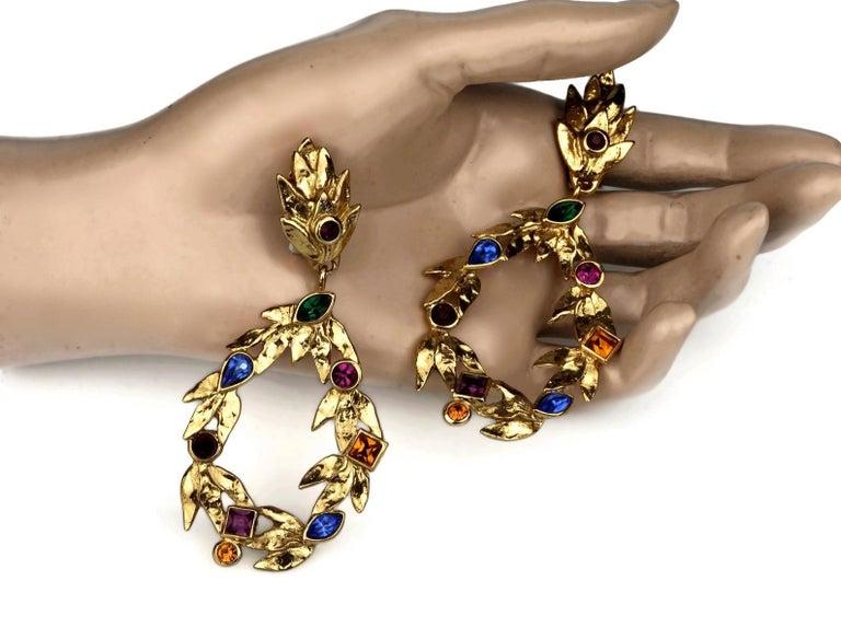 Vintage YVES SAINT LAURENT Ysl by Robert Goossens Jewelled Garland Hoop Earrings For Sale 4