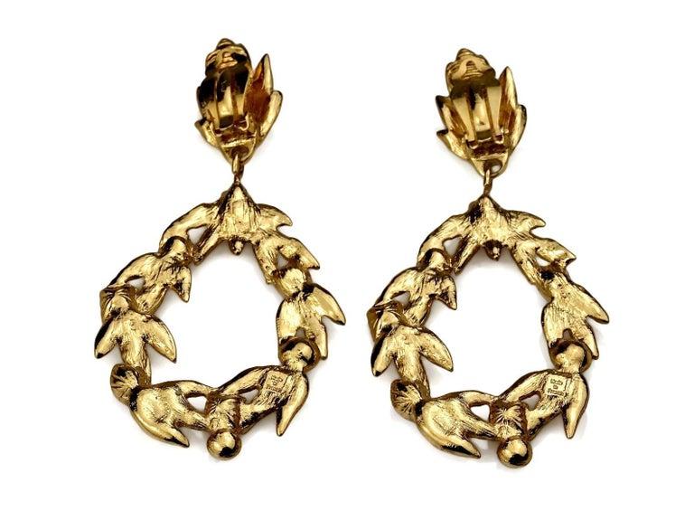 Vintage YVES SAINT LAURENT Ysl by Robert Goossens Jewelled Garland Hoop Earrings For Sale 5