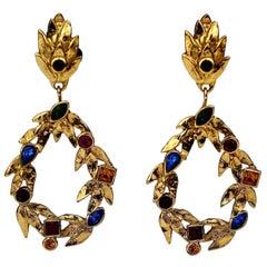 Vintage YVES SAINT LAURENT Ysl by Robert Goossens Jewelled Garland Hoop Earrings