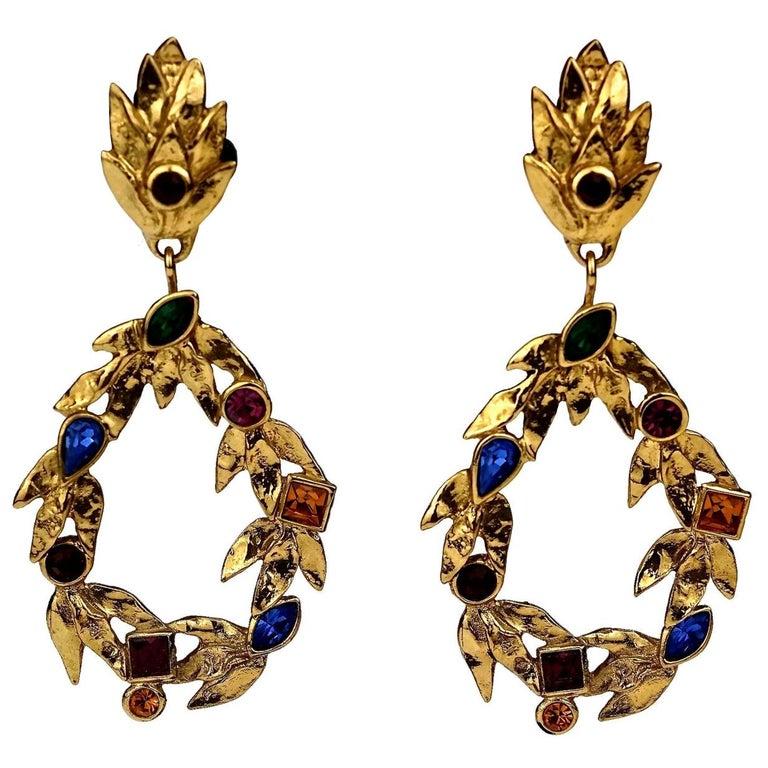 Vintage YVES SAINT LAURENT Ysl by Robert Goossens Jewelled Garland Hoop Earrings For Sale