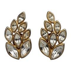 Vintage YVES SAINT LAURENT Ysl by Robert Goossens Leaf Rhinestone Earrings