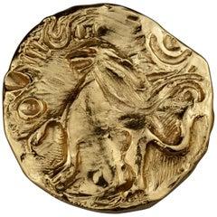 Vintage YVES SAINT LAURENT Ysl by Robert Goossens Lion Medallion Pendant Brooch