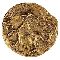 Vintage YVES SAINT LAURENT Ysl by Robert Goossens Lion Profile Medallion Pendant