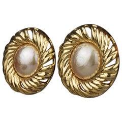 Vintage YVES SAINT LAURENT Ysl by Robert Goossens Pearl Swirl Disc Earrings