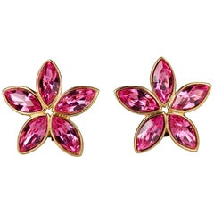 Vintage YVES SAINT LAURENT Ysl by Robert Goossens Pink Rhinestone Flower Earring