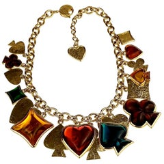 Vintage YVES SAINT LAURENT Ysl by Robert Goossens Playing Card Charm Necklace