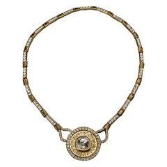 Vintage YVES SAINT LAURENT Ysl by Robert Goossens Rhinestone Medallion Necklace