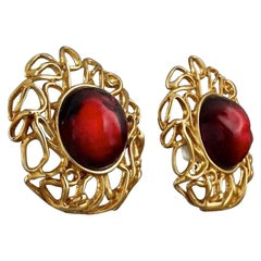 Vintage YVES SAINT LAURENT Ysl by Robert Goossens Ruby Cabochon Cage Earrings