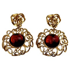 Vintage YVES SAINT LAURENT Ysl by Robert Goossens Ruby Cabochon Flower Earrings