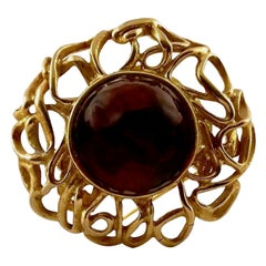Vintage YVES SAINT LAURENT Ysl by Robert Goossens Ruby Cabochon Wire Cage Brooch