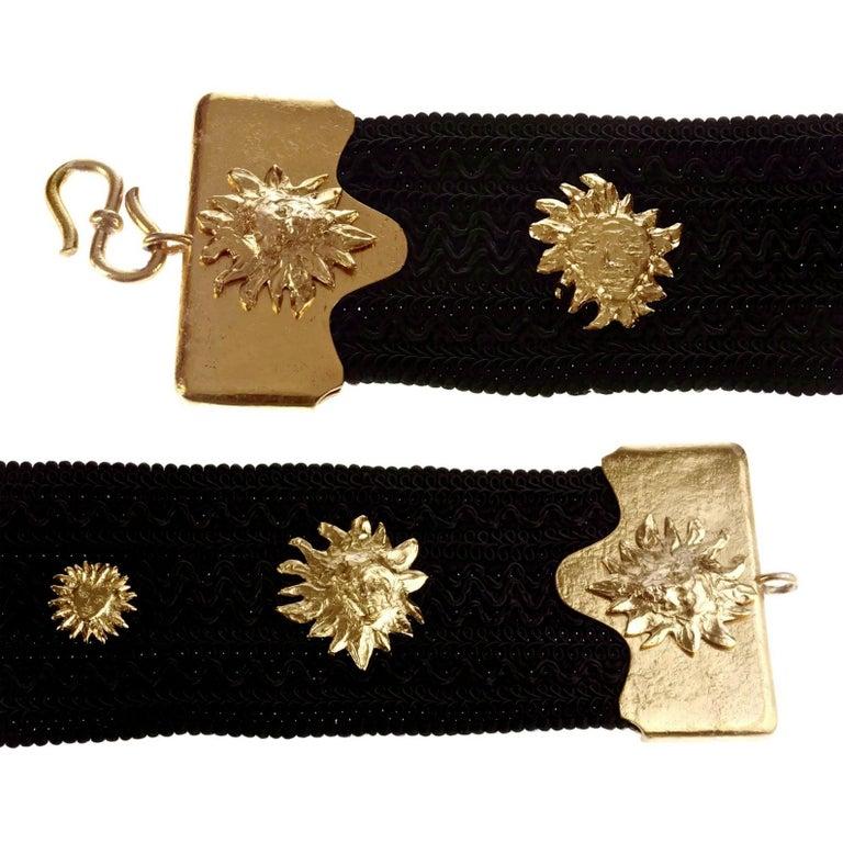 Women's Vintage YVES SAINT LAURENT Ysl by Robert Goossens Sun Face Passementerie Belt For Sale