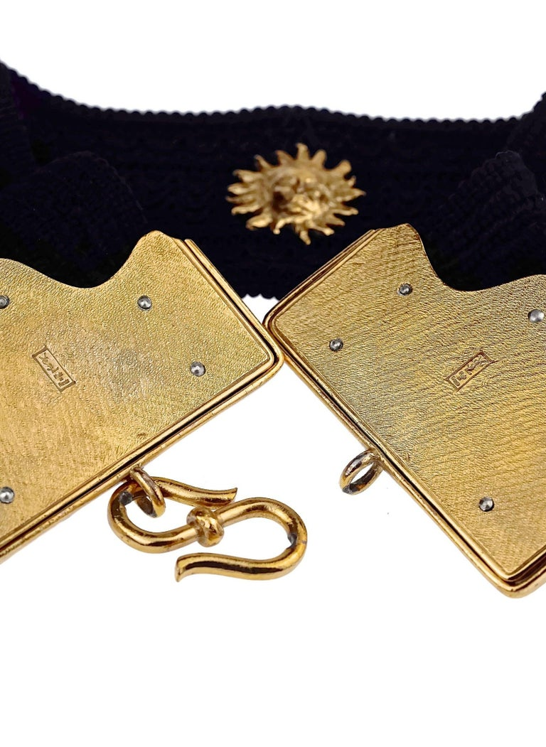 Vintage YVES SAINT LAURENT Ysl by Robert Goossens Sun Face Passementerie Belt For Sale 1
