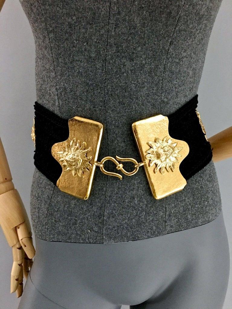Vintage YVES SAINT LAURENT Ysl by Robert Goossens Sun Face Passementerie Belt For Sale 3