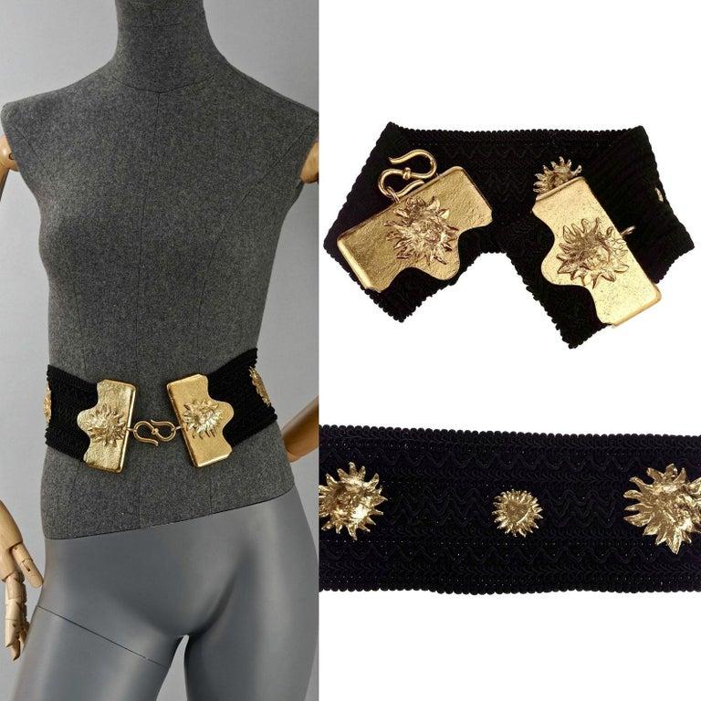 Vintage YVES SAINT LAURENT Ysl by Robert Goossens Sun Face Passementerie Belt For Sale 5